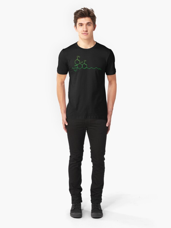 Alternate view of THC Cannabis Marijuana Medicine Chemical Formula Slim Fit T-Shirt