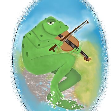 Frog playing violin  by Valiante