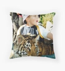 A Boy and his Tiger Throw Pillow