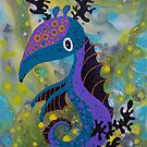 Seahorse jumping around Seaweed in the deep blue sea by See Foon