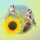 Little bird with sunflowers by Birgit Schiffer