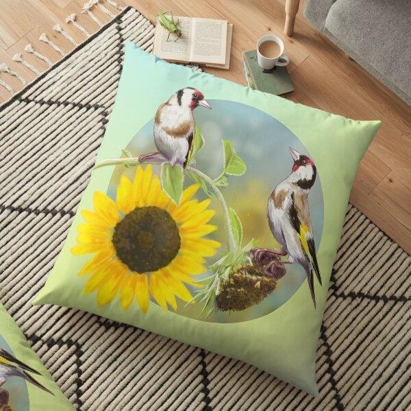 Little bird with sunflowers Floor Pillow