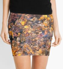 Clear Water Flows Over Golden Brown Pebbles Stream Abstract Mini Skirt