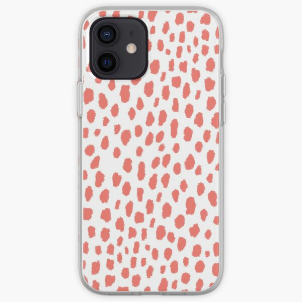 Handmade Polka Dot Paint Brush Pattern (Pantone Living Coral and White) iPhone Soft Case