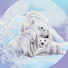Polar bears in the snow with snowflakes by Birgit Schiffer