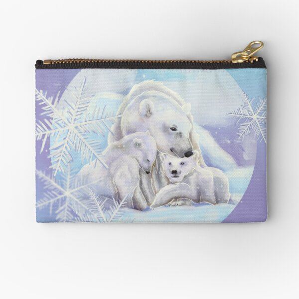 Polar bears in the snow with snowflakes Zipper Pouch