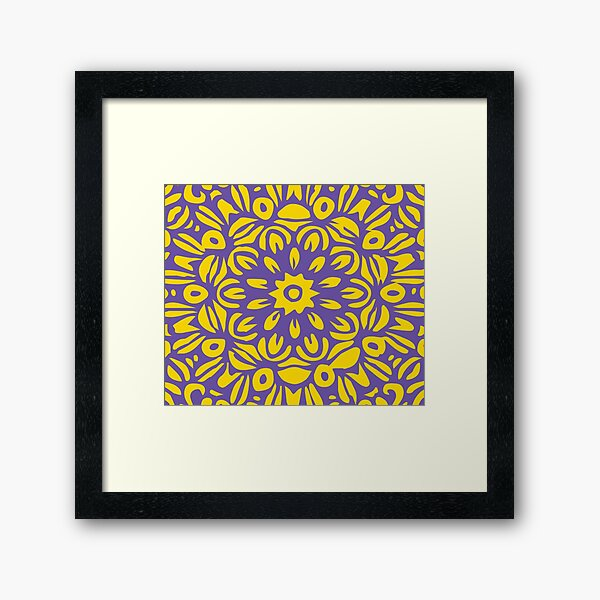 Floral Burst, Dark Purple & Yellow Mandala 22 Framed Art Print