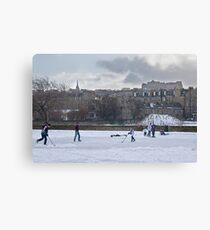 Ice Hockey and Edinburgh Castle Canvas Print