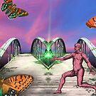Catcher on the Butterfly Bridge in the Sunset Sky by Judy Boyle