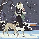 Vintage Winter Borzoi by Happy Dog Swag
