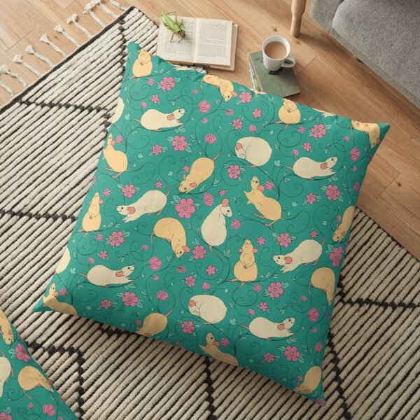 Floral Rat Retro Pink and Teal Floor Pillow