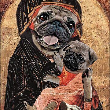 Pugdonna and Puppy by darklordpug