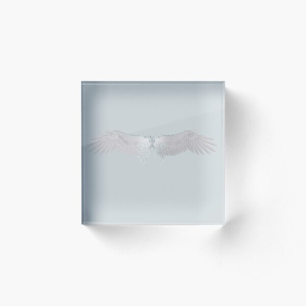 Ethereal Angel Wings   Ethereal Blue Personalized Sympathy Memorial Gifts Acrylic Block