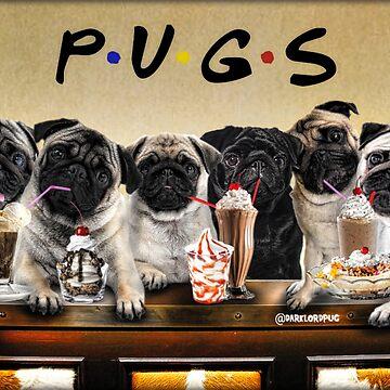 Pug Friends by darklordpug
