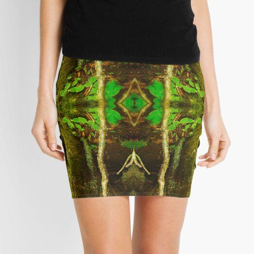 Dark Green Divine Enchanted Zen Forest Mini Skirt