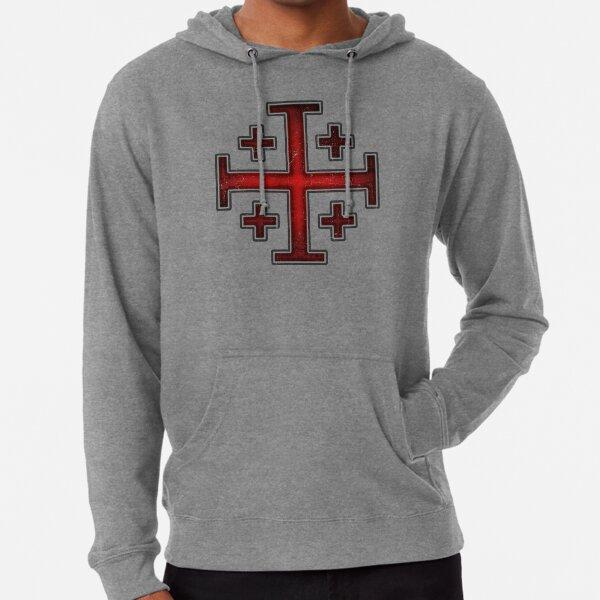 Deus Vult Crusader Knight Templar Jerusalem Cross dark red grunge eroded style on dark gray background HD HIGH QUALITY ONLINE STORE Lightweight Hoodie