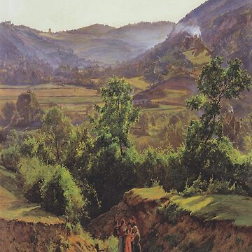 Mountain landscape with the ruins of Liechtenstein in Mödling-Ferdinand Georg Waldmüller by LexBauer