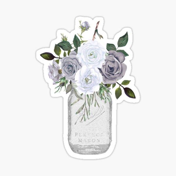 Tarro de masón floral Pegatina