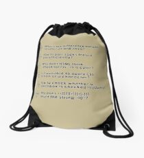 stack overflow funny questions Drawstring Bag