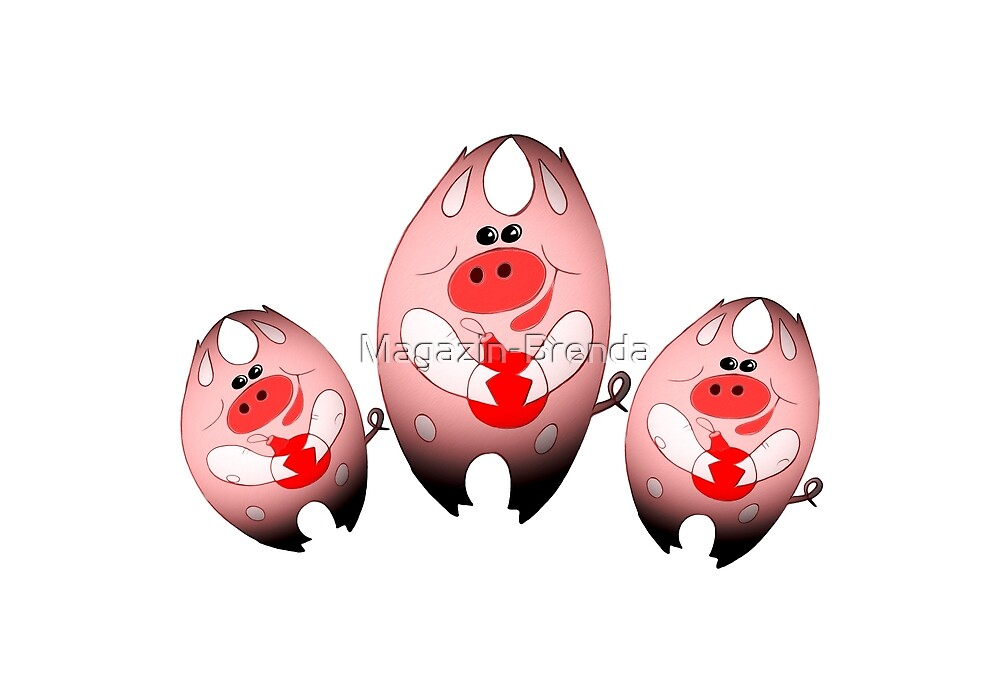 Postcard for the New Year - three pigs with a Christmas tree toy by Magazin-Brenda