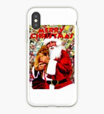 Merry Christmas Santa With Puppy iPhone Case