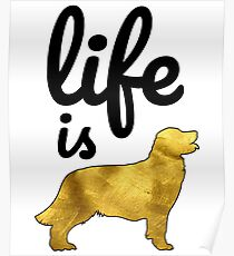Golden Retriever Dog Gift Shirt Life Is Golden Poster