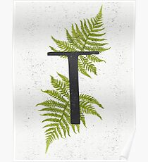 Black letter T monogram with green watercolor fern on beige background. Poster