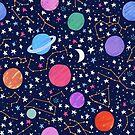 Zodiac Constellation Pattern in Midnight Blue by latheandquill
