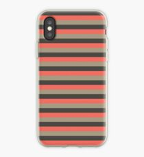 Horizontal Stripe - Coral and Green iPhone Case