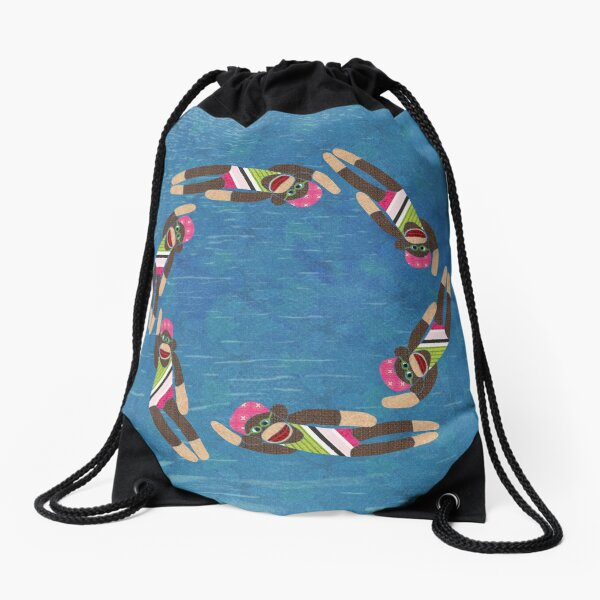 Sock Monkey Water Ballet Drawstring Bag