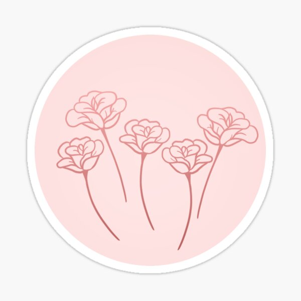 Four Roses in Pastel Pink Sticker