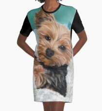 Chewie the Adorable Yorkie Graphic T-Shirt Dress