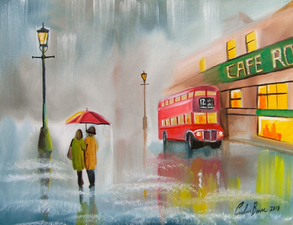 RED BUS UMBRELLA OIL PAINTING by Gordon bruce by GORDON BRUCE ART