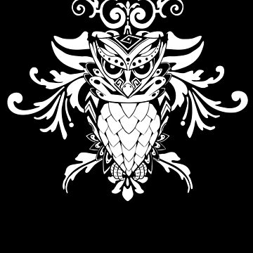 Owl Abstract Psychedelic Bird Artwork Nocturnal Animal Lovers Gifts by TomGiantDesign