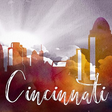 Cincinnati | CIty Skyline | Colorful Watercolor by PraiseQuotes