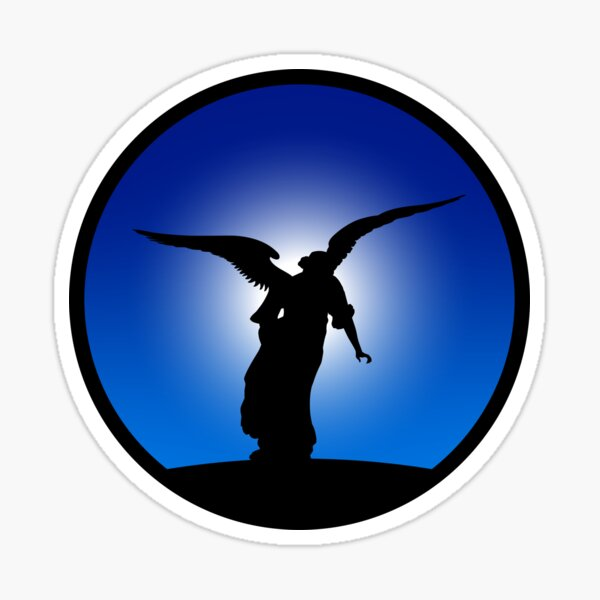 Angel Statue Silhouette (bordered) Sticker
