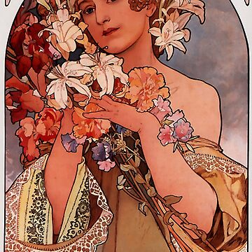 'Flowers' by Alphonse Mucha (Reproduction) by RozAbellera