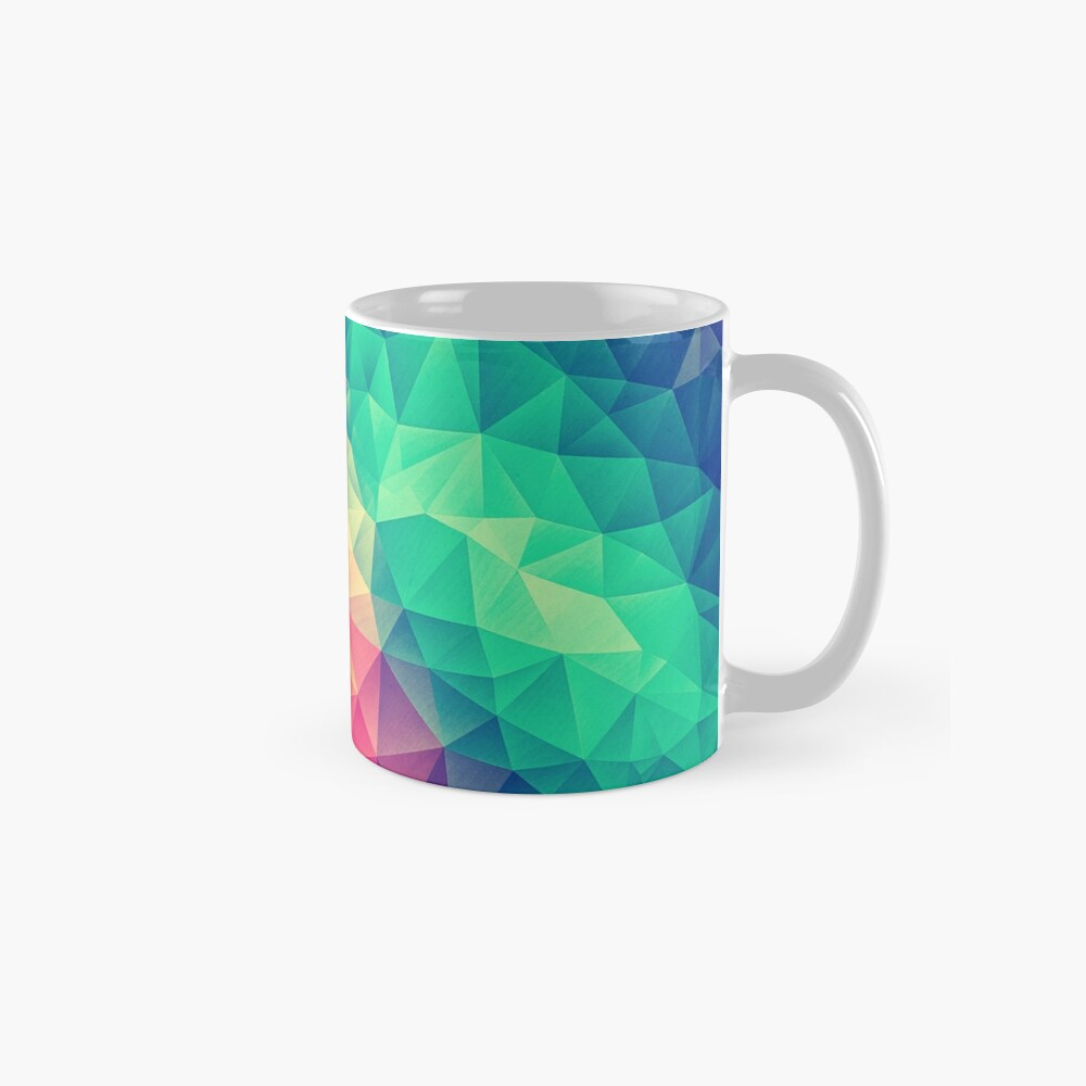 Abstract Polygon Multi Color Cubism Low Poly Triangle Design Tasse (Standard)