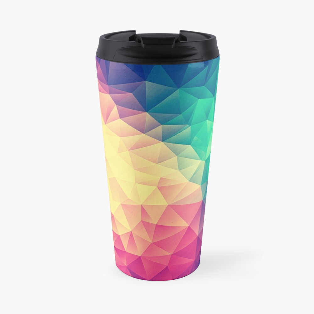 Abstract Polygon Multi Color Cubism Low Poly Triangle Design Thermobecher