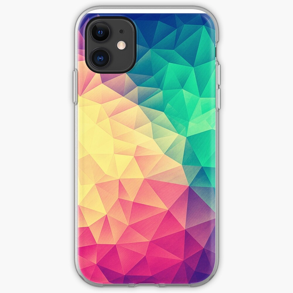 Abstract Polygon Multi Color Cubism Low Poly Triangle Design iPhone Case & Cover