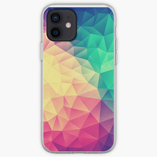 Abstract Polygon Multi Color Cubism Low Poly Triangle Design iPhone Soft Case