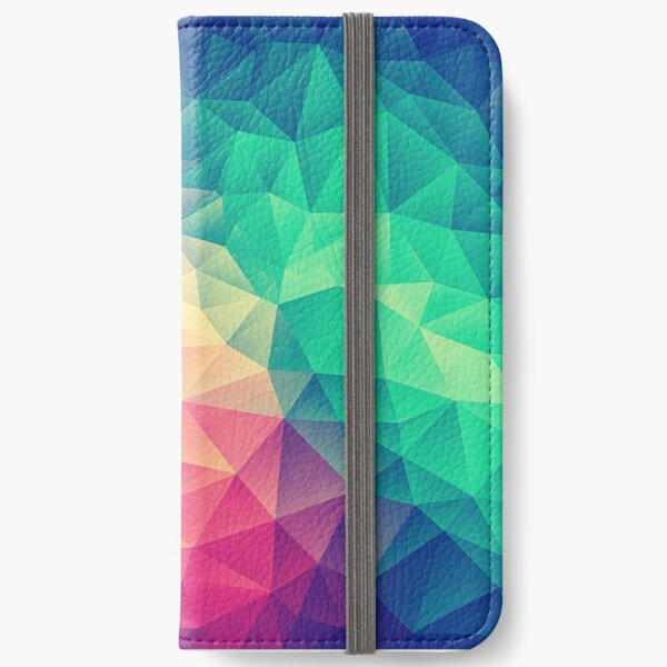 Abstract Polygon Multi Color Cubism Low Poly Triangle Design iPhone Wallet