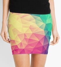 Abstract Polygon Multi Color Cubism Low Poly Triangle Design Mini Skirt
