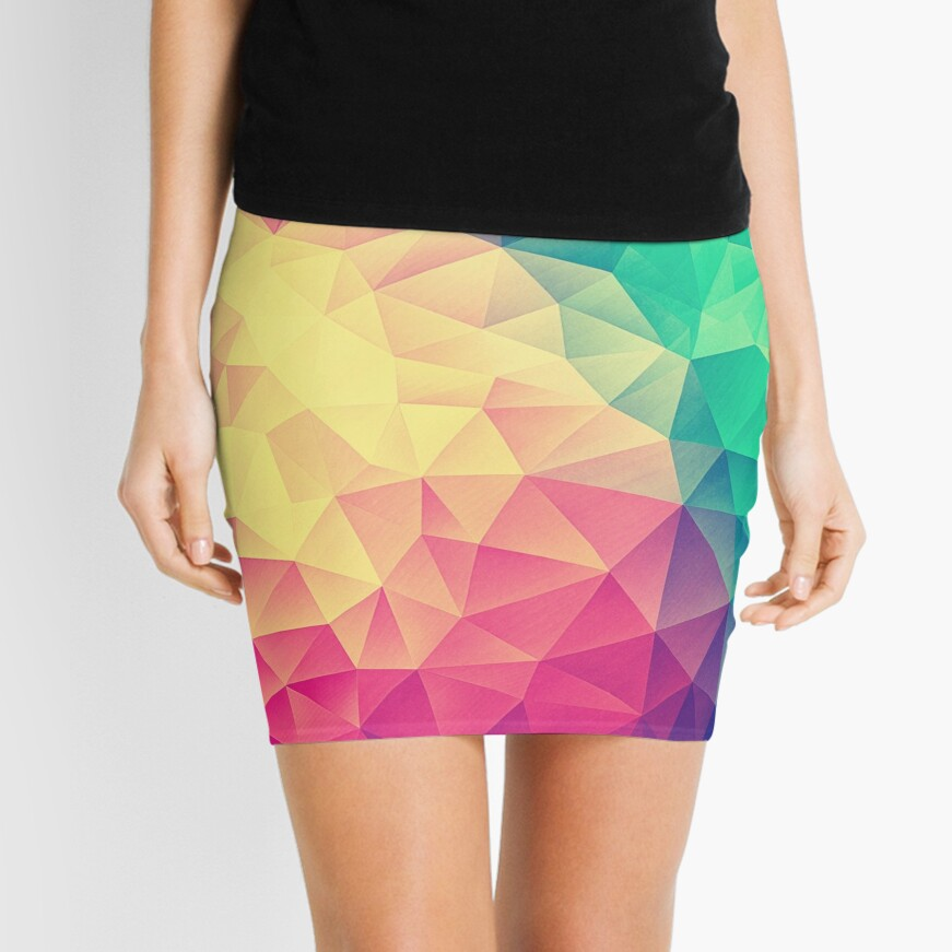 Abstract Polygon Multi Color Cubism Low Poly Triangle Design Minirock