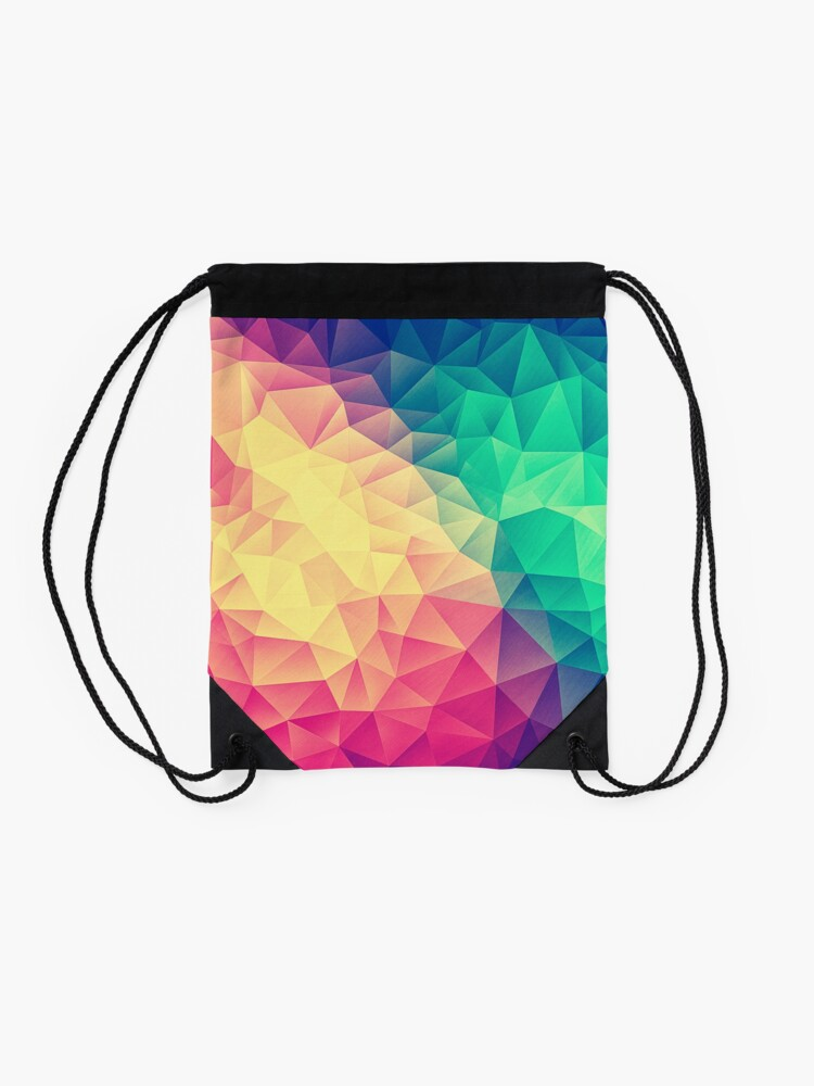 Alternate view of Abstract Polygon Multi Color Cubism Low Poly Triangle Design Drawstring Bag