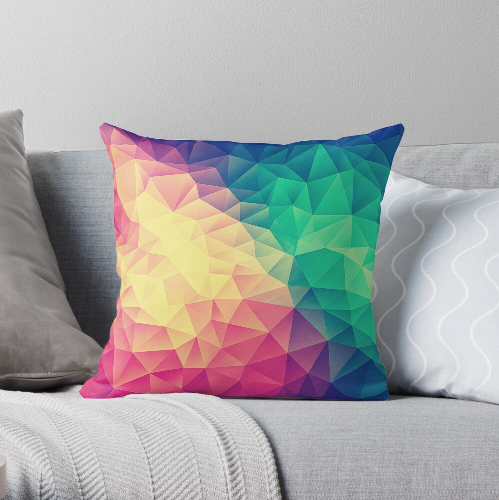 Abstract Polygon Multi Color Cubism Low Poly Triangle Design Dekokissen