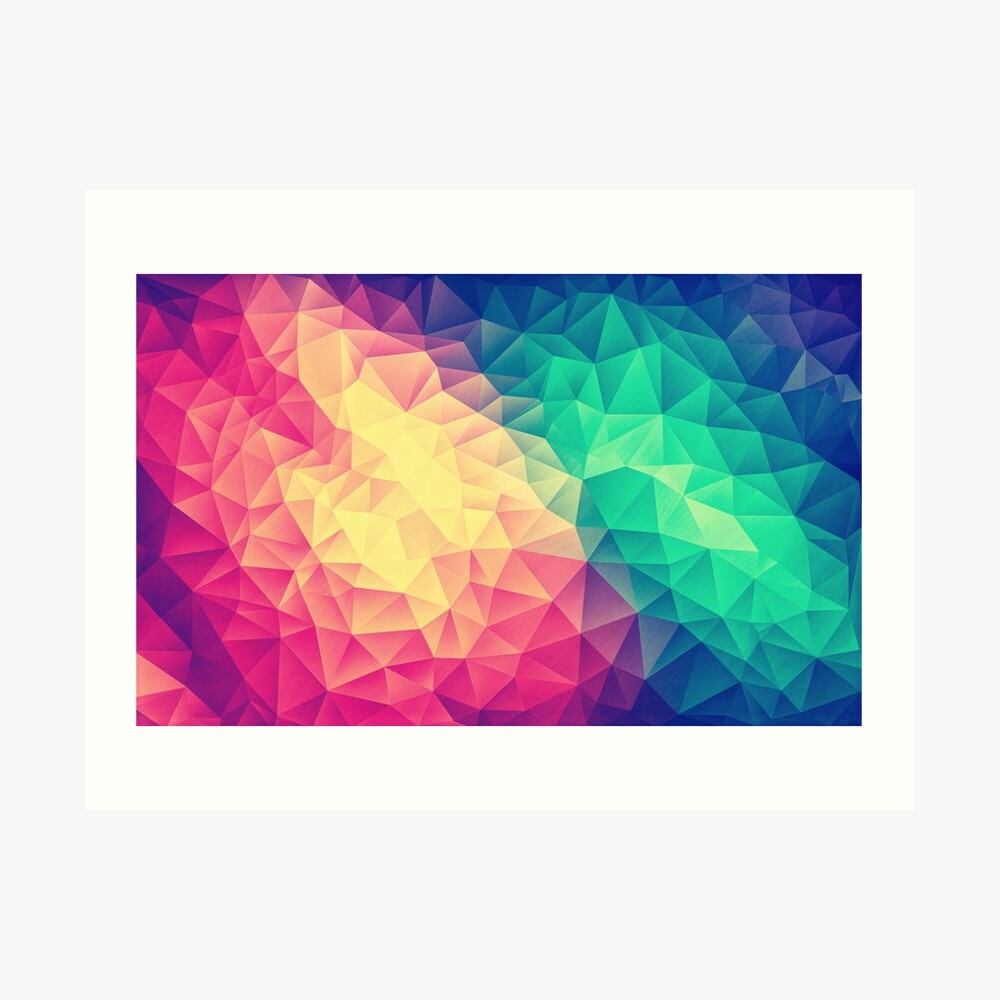 Abstract Polygon Multi Color Cubism Low Poly Triangle Design Kunstdruck
