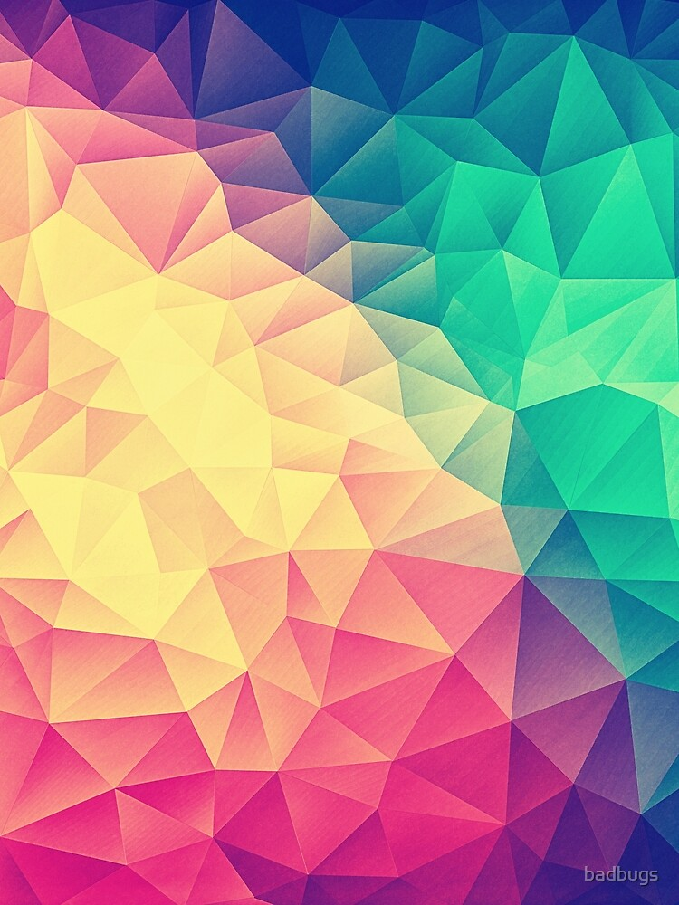 Abstract Polygon Multi Color Cubism Low Poly Triangle Design von badbugs