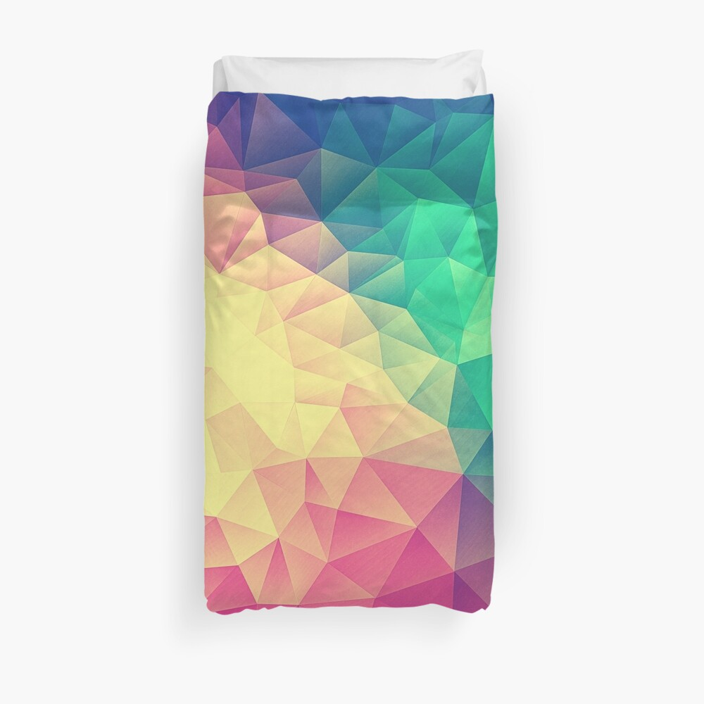 Abstract Polygon Multi Color Cubism Low Poly Triangle Design Bettbezug