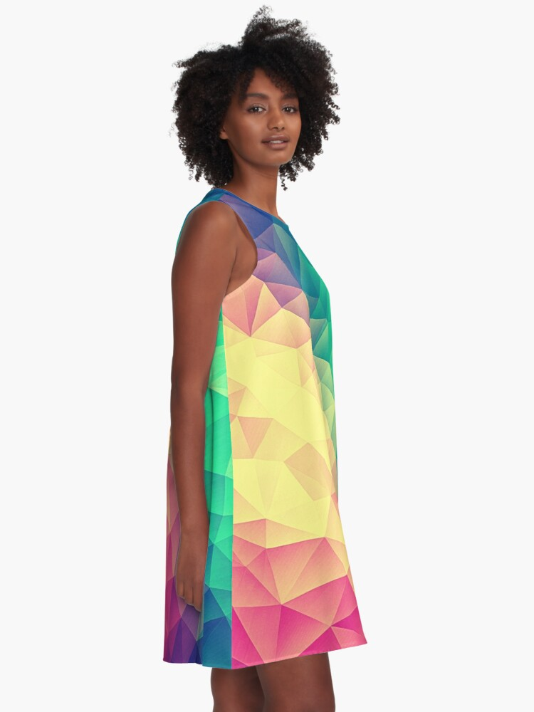 Alternative Ansicht von Abstract Polygon Multi Color Cubism Low Poly Triangle Design A-Linien Kleid
